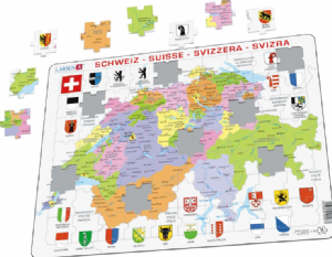 Political Map of Switzerland/Schweiz/ Suisse - Frame/Board Jigsaw Puzzle 29cm x 37cm (LRS  K43-CH)